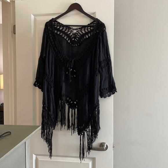 Boho Crochet and Fringe Kimono/Coverup